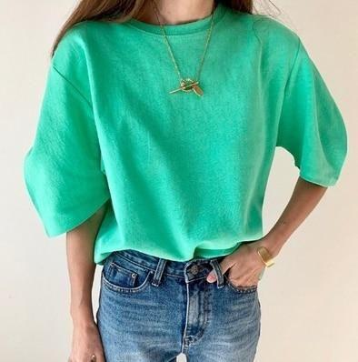 Short Sleeve Funny T shirt Women White Tshirt Femme Harajuku Feminina Summer Tees Casual Cotton bts T-Shirt Vintage Loose Tops - Green / One Size