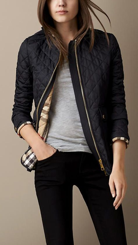 Corduroy Collar Quilted #jacket | Burberry... Classic!