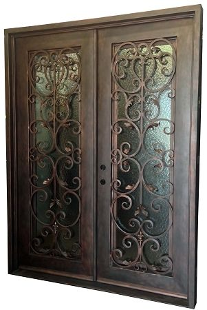 6 0 X8 0 Jasmine Exterior Wrought Iron Door With Images Iron