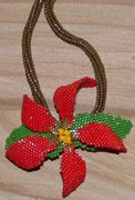 Currentlt 35% off SALE - PONSETTIA NECKLACE Beading Pattern by Pinjinsa at Bead-Patterns.com