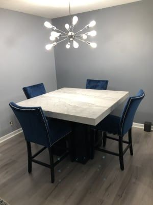 Artemis Counter Height Marble Dining Table And 4 Upholstered