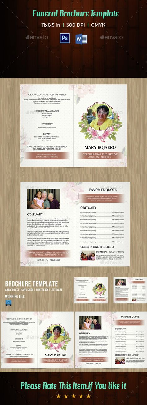 Funeral Program Template-V62 - funeral brochure template