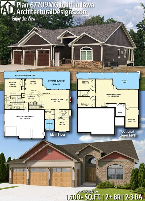 Architectural Designs Craftsman Home Plan AM gives you 3