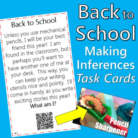 Task cards for back to school with QR codes! Perfect back to school reading center. Students read the clue, infer the answer, and scan the QR code to self-check for immediate feedback. The QR codes link to the answer in words and photos to support visual learners. Perfect task card activity for 3rd, 4th, or 5th grade. (This TPT shop also has a huge YEAR BUNDLE of all the 4th grade task cards with QR codes for all subjects!)