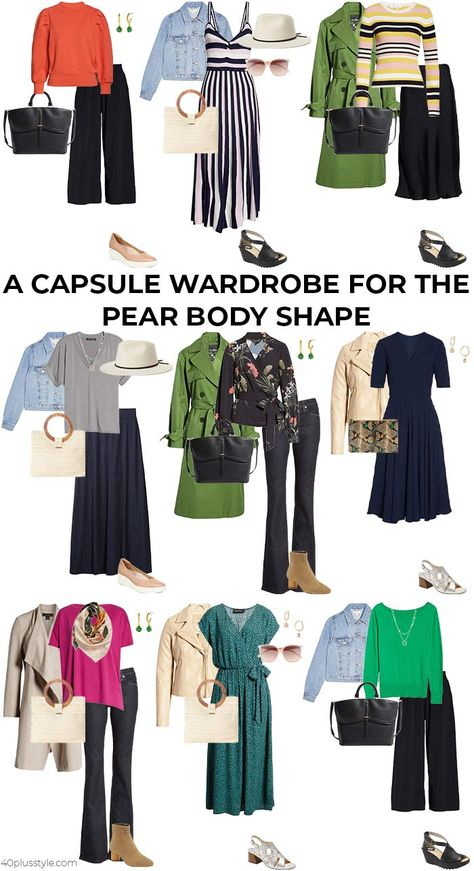 You will look better in your clothes if you know how to dress your body shape. Here we look at the pear shaped body with lots of tips and ideas. Pear Shaped Celebrities, Pear Shaped Women, Pear Shaped Dresses, Pear Shaped Outfits, Clothes For Pear Shaped, Fashion Capsule, Fashion Outfits, Pear Shape Fashion, Business Casual Outfits