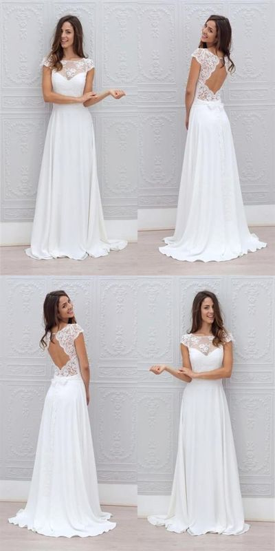 Simple A Line Beach Wedding Dresses Sheer Lace Appliques Scoop