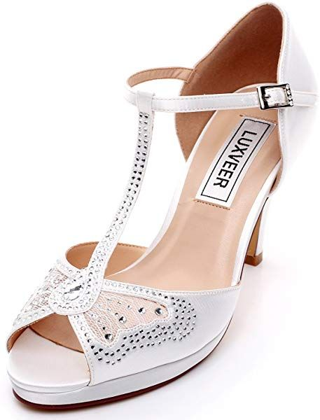 570160b9a5606 Amazon.com   LUXVEER Lace Wedding Sandals with Silver Rhinestone and ...
