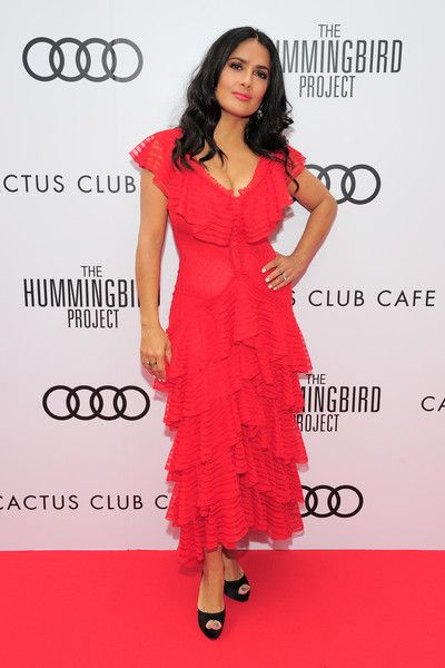 Salma Hayek attends an event for 'The Hummingbird Project' During The Toronto International Film Festival.