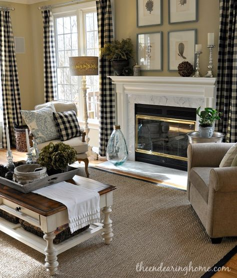 Sherwin Williams: Ramie (wall color) kinda digging this for the sitting room….interesting plaid curtains...