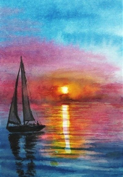 Aceo Original Sunset Painting Boats Seaside Landscape Ocean Sea