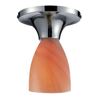 Elk 10152//1DR-FR Celina 1-Light Semi-Flush In Dark Rust with Fire Red Glass