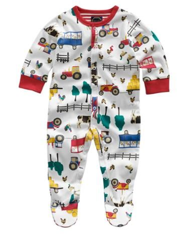 Joules Baby Boys Baby Grow, Cream Farm.                     This all-in-one babygrow is crafted from the finest cotton and comes in a hand-drawn farmyard print. For warmth and comfort throughout the autumn and winter months this is a great option. Finished with a smattering of poppers for easy-on and easy-off.