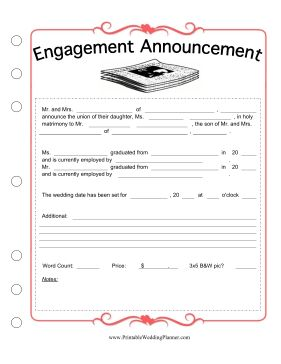 newspaper wedding announcement template