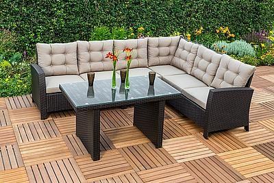 Merxx Loungeset Salerno 16 Tlg 1 Eckbank Tisch 120x70 Cm Polyrattan Kaufen Mit 6 Cm Stark Gepolsterten Sitz Und Ruckena Polyrattan Lounge Gartenmobel