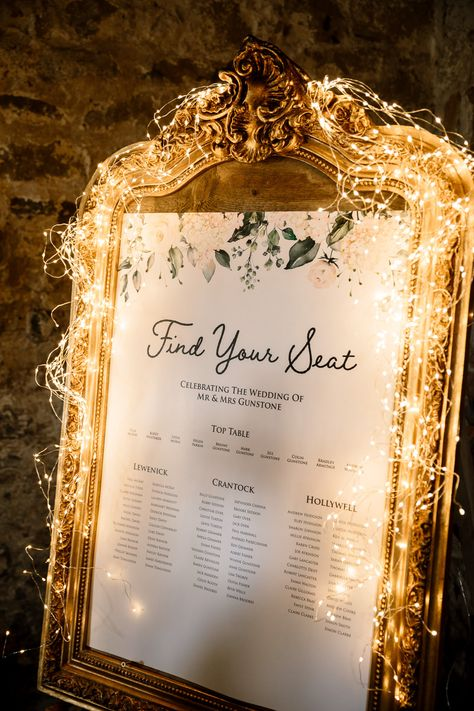 Wedding Table Decorations 27232772733560469 - Seating Plan Table Chart Gold Frame Fairy Lights Wharfedale Grange Wedding Hayley Baxter Photography Source by whimwondwed Wedding Reception Ideas, Seating Plan Wedding, Wedding Themes, Wedding Signs, Fall Wedding, Wedding Ceremony, Rustic Wedding, Wedding Venues, Wedding Planning