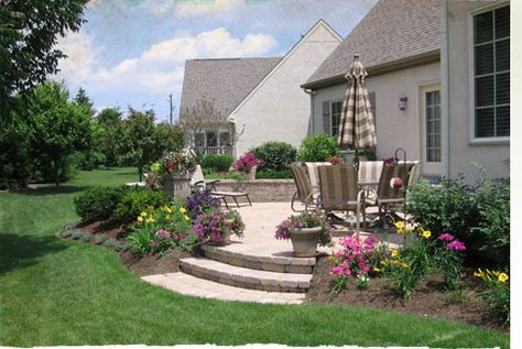 Patio Pavers Flowers Along Outside Instead Of Against House Patio Landscape Design Landscaping Around Patio Outdoor Patio Designs