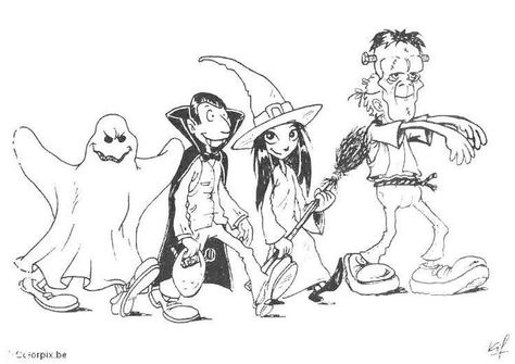 Halloween Coloring Pages Ghost Dracula Witch Frankenstein