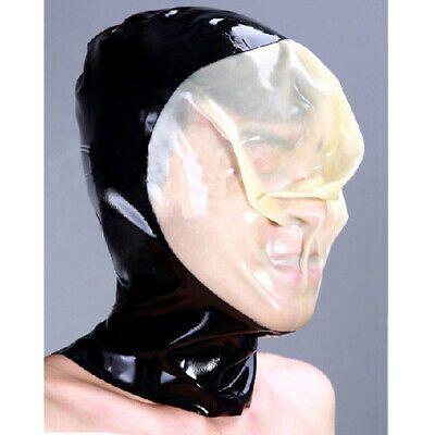 Latex Rubber Bodysuit Suit Catsuit With Mask Headgear Smoke Gray Size XXS-XXL