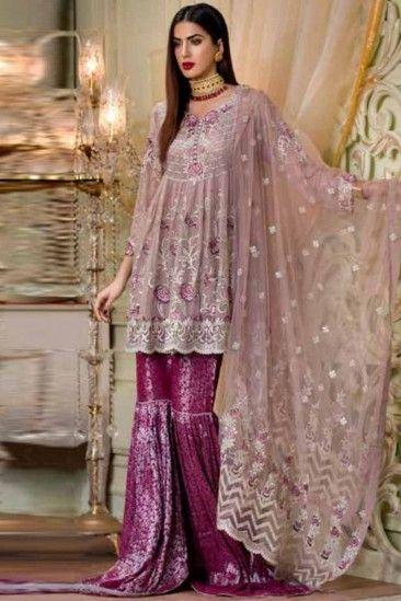 Buy Light Purple Chiffon Sharara Suit Online Lstv02229 Andaaz
