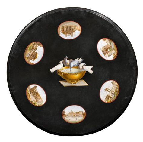 Round Micro Mosaic Plate Restauration Rome Ca 1830 50 Black Marble Finely Inlaid With 7 Micro Mosaic Medallions Depicting Th Marble Table Top Marble Table