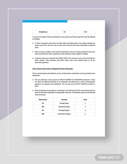 Job Satisfaction Survey Template Word Doc Google Docs Apple Mac Apple Mac Pages Survey Template Job Satisfaction Survey Template Word