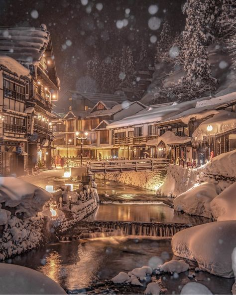 Ginzan Onsen is a secluded hot spring town in the mountains of Yamagata. It is especially beautiful in winter. Location: Obanazawa Yamagata Photo by MATCHA Official Photogenic Japan Views Posting stunning photos of Japan daily Hashtag to be featured! Aesthetic Japan, Travel Aesthetic, Onsen Japan, Japan Wallpaper, Code Wallpaper, Oh The Places You'll Go, Cool Places To Visit, Nature Architecture, Winter In Japan