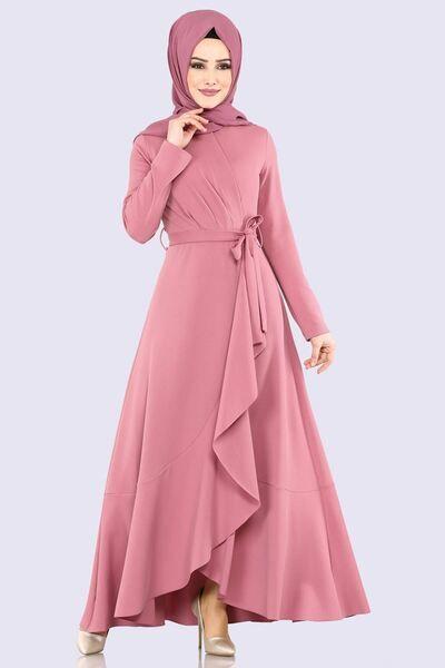 Modaselvim Elbise Pile Detay Kemerli Elbise 4041 5ef311 Gul Kurusu Muslim Fashion Dress Fashion Dresses Formal Stylish Dress Designs