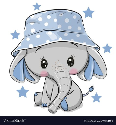 Cute elephant in panama hat isolated on a white Vector Image