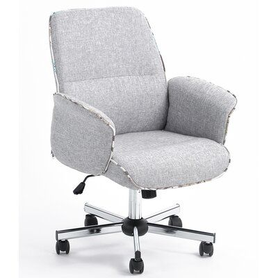 Office Chairs Upholstered Desk Chair, Grey Fabric Desk Chair With Arms