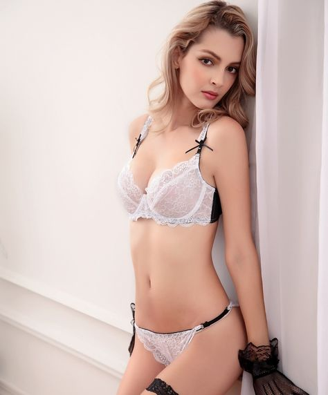 97060edee sweet style bra set.It really fit for sweet ladies.There are pink and white bra  sets in the shop.