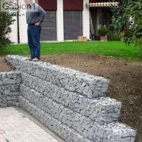 Small Gabion Retaining Wall Garden In 2019 Sloped