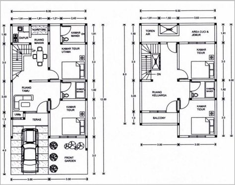 gambar denah rumah minimalis 2 lantai modern 12 | denah