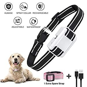 Dog Bark Collar Anti Bark Dog Spray Bark Collar With Auto Barking Detection No Shock Adjustable Sensitivity Humane Rechargeable Waterproof For Small Medium Dog Spray Dog Barking Dog Training Collar
