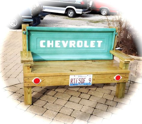 DIY Tailgate bench.  paint & add vinyl lettering to blank cheap tailgates if you can't get a vintage one. boys room decor.