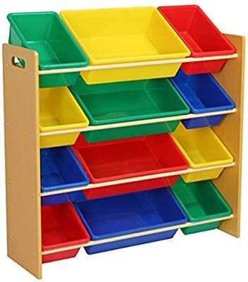 Amazon Com Finnhomy Kids Mobile Toy Storage Organizer With 12 Plastic Colored Bins Box Basket Shelf For Dog Toys Kids Children Toys En 2020 Coche De Carton Carton