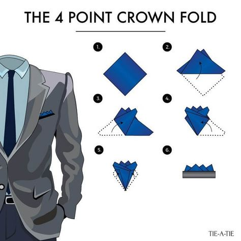 Fold your pocket squares with the crown fold. A classic way to wear your pocket squares! Fold your pocket squares with the crown fold. A classic way to wear your pocket squares! Pocket Square Folds, Pocket Square Guide, Pocket Square Styles, Mens Pocket Squares, Mens Fashion Suits, Mens Suits, Grey Suits, Men's Fashion, Tie A Necktie