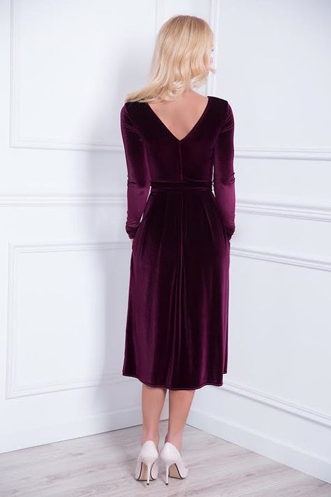 Mid-Calf Velvet Party Bridesmaid Dark Purple Dress/ V Back Long Sleeves Pockets Waistband Sash