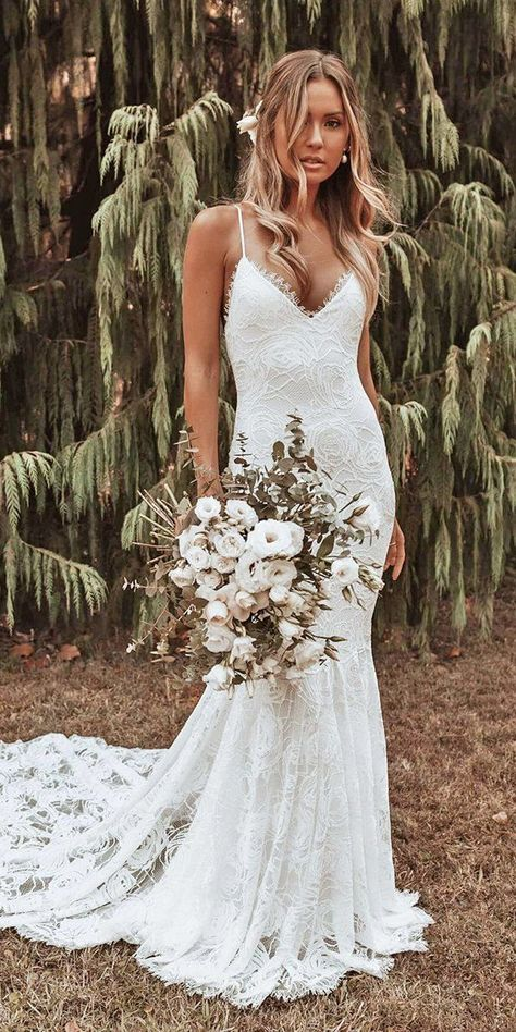 10 Wedding Dress Designers You Want To Know About ❤ wedding dress designers sheath with spaghetti straps with train grace loves lace robe dresses dresses beach dresses boho dresses lace dresses princess dresses vintage Marie's Wedding, Wedding Dress Train, Country Wedding Dresses, Modest Wedding Dresses, Perfect Wedding Dress, Boho Wedding Dress, Designer Wedding Dresses, Wedding Outfits, 1940s Wedding