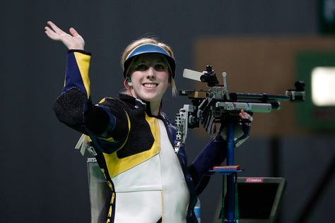 Virginia Thrasher of the United States celebrates winning a shootout to secure the gold medal in the Women's 10m Air Rifle event at Olympic Shooting Center at the 2016 Summer Olympics in Rio de Janeiro, Brazil, Saturday, Aug. 6, 2016. (AP Photo/Hassan Ammar)