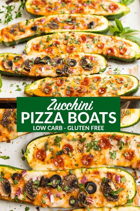 #Boats #Clean Eating Meals Low Carb #Pizza #zucchini Healthy Zucchini Pizza Boats. All the flavor of pizza, stuffed into an easy, filling, low carb meal! Add sausage, pepperoni or any of your favorite toppings. Keto and weight watchers friendly! #lowcarb #keto #zucchiniboats