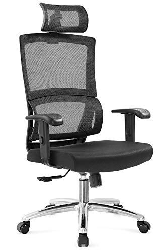 High Back Mesh Chair with Thick Seat Cushion Armrest and Lumbar Support Reclinable Computer Desk Chair Ticova Ergonomic Office Chair with Adjustable Headrest