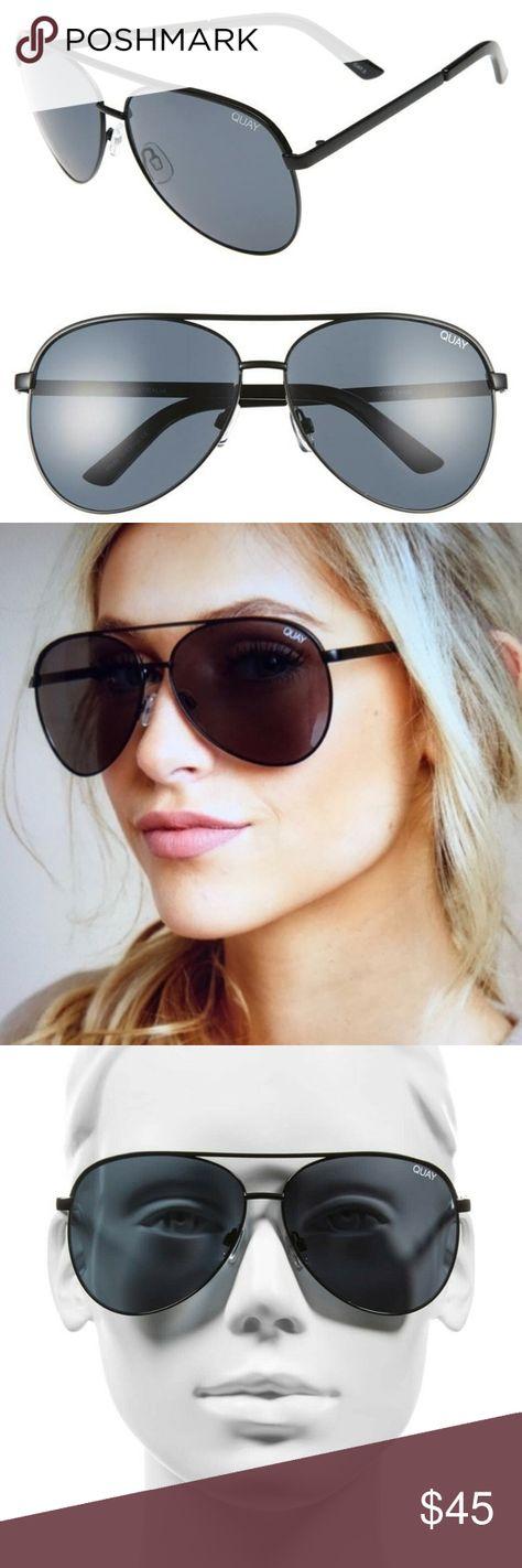 fc72a726c7743 Quay Australia Vivienne Aviator Sunglasses NEW QUAY Australia SUNGLASSES  Vivienne AVIATORS Oversize BLACK Smoke NEW