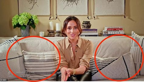 4. Artfully mis-matched throw pillows: The Duchess appeared relaxed as she lounged on a huge white sofa with a variety of monochrome scatter cushions.Her lavish home shows her love for white furnishings and luxury accents such as a the striped black-and-white cushions thrown on the sofa.