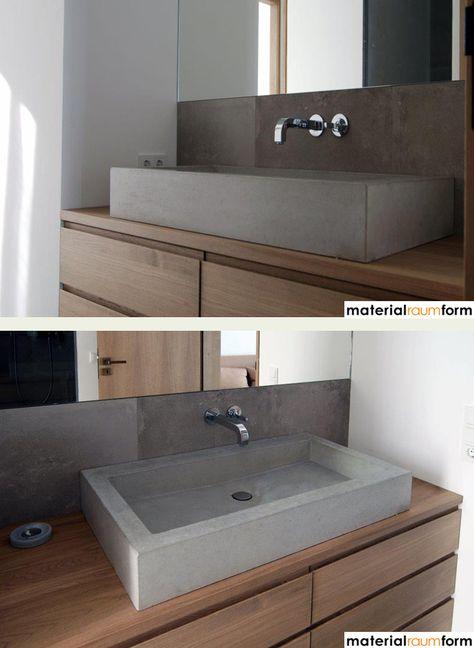 Beton und Holz auch im Bad eine schöne Kombination Bad - badezimmer aus holz