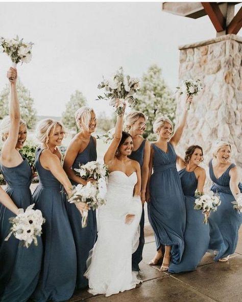 Steel Blue Bridesmaid Dresses, Grey Bridesmaids, Wedding Bridesmaid Dresses, Wedding Attire, Bridesmaid Dress Colors, Being A Bridesmaid, Bridesmaids With Different Dresses, Navy Tux Wedding, Bridesmade Dresses