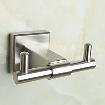 Alise Bathroom Double Robe Hook Lavatory Bath Towel Hook Coat Hooks Wall Mount Brushed Nickel Towel Hooks Bath Towel Hooks Bath Towels