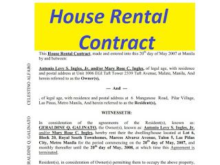 Simple House Rental Contract Philippines House Rental Rental Agreement Templates Contract