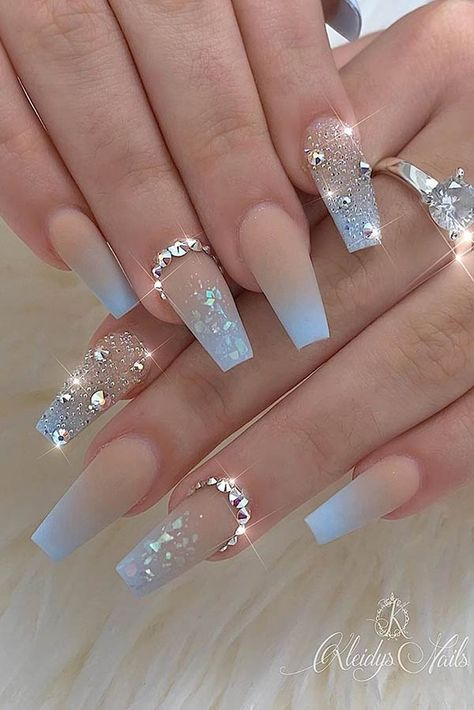 20 Elegant Acrylic Blue Nails Design For Coffin and Stiletto Nails - NailStyle Blue Ombre Nails, Blue Coffin Nails, Gold Nails, Stiletto Nails, Light Blue Nails, Sparkle Nails, Blue Diamond Nails, Pointed Nails, Brown Nails