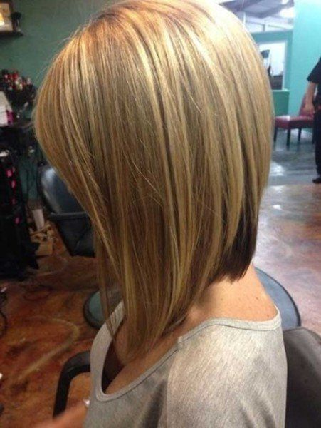 Long Stacked Bob Hairstyle Front And Back View Linehaircut Long ...