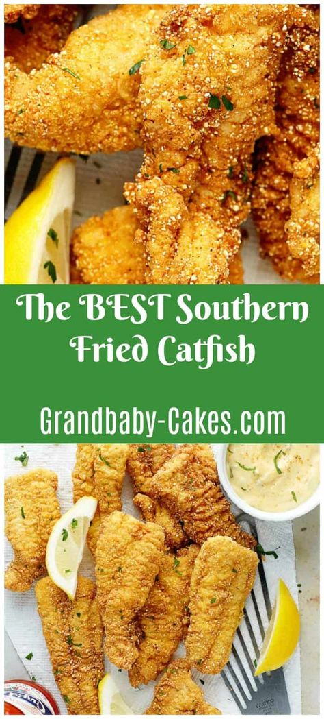 This classic southern fried catfish recipe is dredged in a perfectly seasoned and spiced cornmeal breading and fried until golden brown and tender.  #fried #catfish #friedcatfish #southern #soulfood